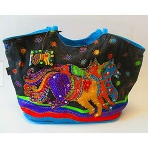 Laurel Burch Small Canvas Purse Tote Running Cats